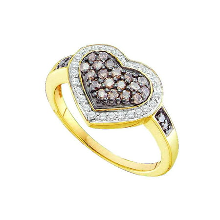 10kt Yellow Gold Womens Round Cognac-brown Colored Diamond Framed Heart Cluster Ring 1/2 Cttw