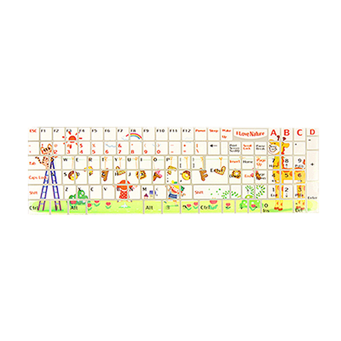 Unique Bargains Notebook Keyboard Cartoon Print Boy Girl Flower Sticker