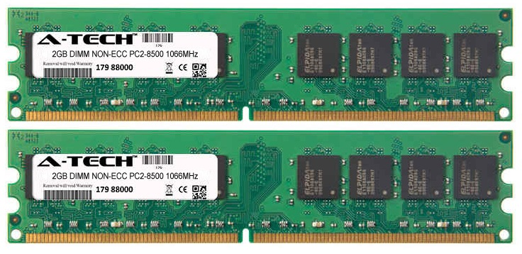 4GB Kit 2x 2GB Modules PC2-8500 1066MHz NON-ECC DDR2 DIMM Desktop 240-pin Memory Ram