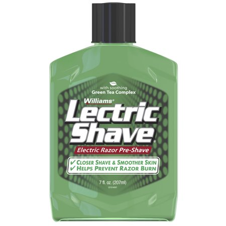 Williams Lectric Shave, Electric Razor Pre-Shave, With Soothing Green Tea Complex, 7 Fluid Ounce Bottle