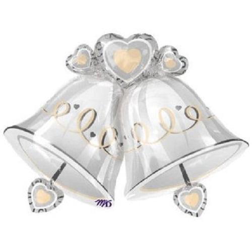 "XL 35"" Wedding Celebration Silver Bells Super Shape Mylar Foil Balloon Party"