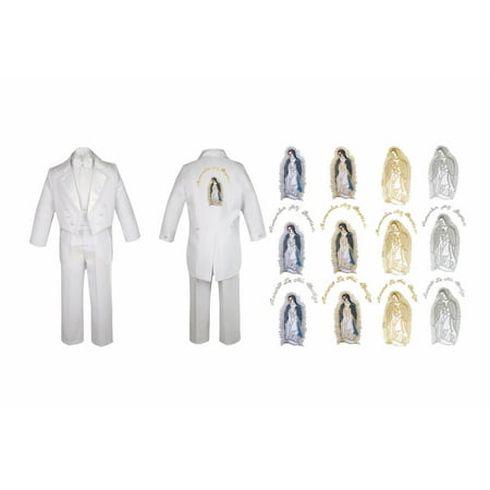 Infant Boy Christening Baptism White Tail Suit Tuxedo Virgin Mary On Back Sm-7 - Tux With Tails