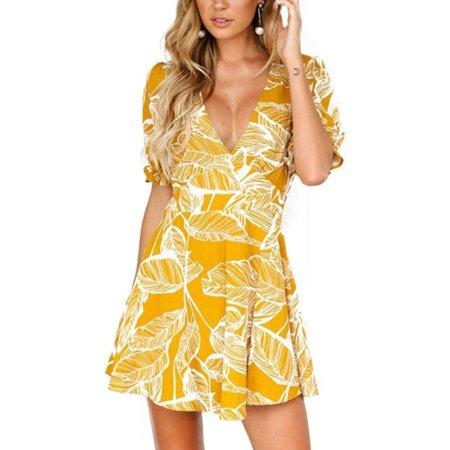 - Womens Summer Floral Boho Dress V Neck Beach Casual Holiday Party Mini Sundress