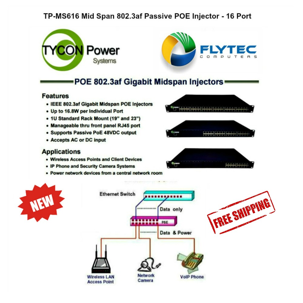 Tycon Power Tp Ms616 Mid Span High 8023at Poe Injector 16 Network Camera System Vs Midspan Switches Port