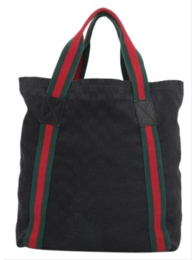 810dd25f224 Product Image Sherry Monogram Web Shopper 230435 Black Canvas Tote. Gucci