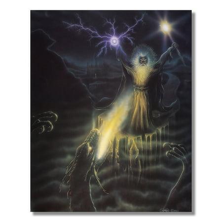 Warlock Wizard Fighting Fire Dragon #1 Fantasy Wall Picture 8x10 Art