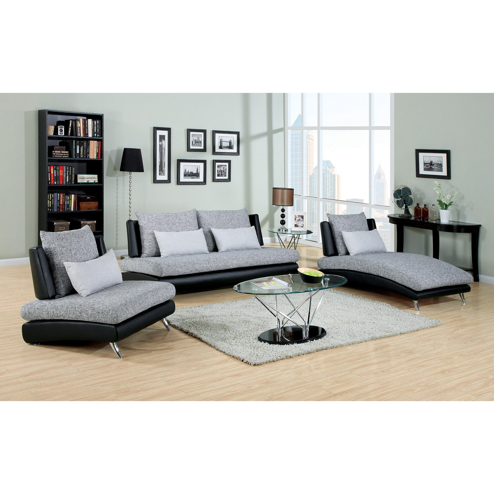 Furniture of America Cole 3-Piece Fabric and Faux Leather Sofa Set ...