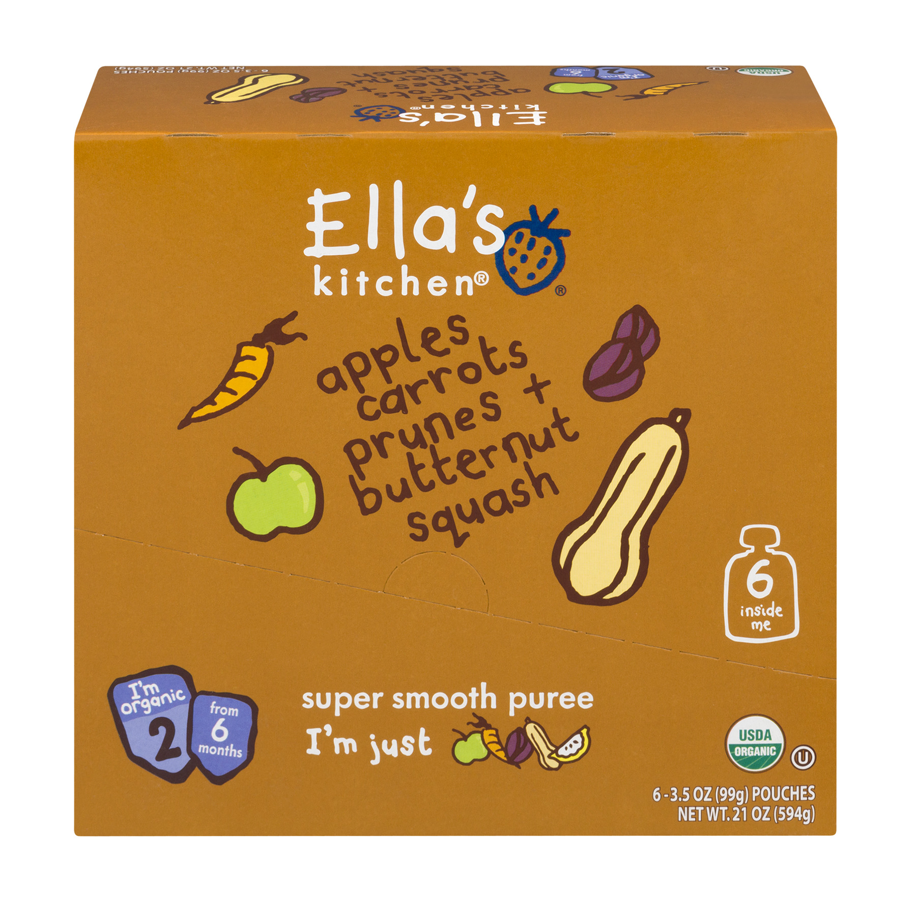 (6 Pack) Ella's Kitchen 6+ Months Organic Baby Food, Apples Carrots Prunes + Butternut Squash, 3.5 oz