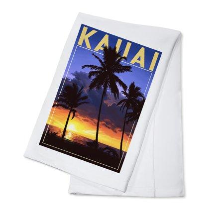- Kauai, Hawaii - Palms and Sunset - Lantern Press Artwork (100% Cotton Kitchen Towel)