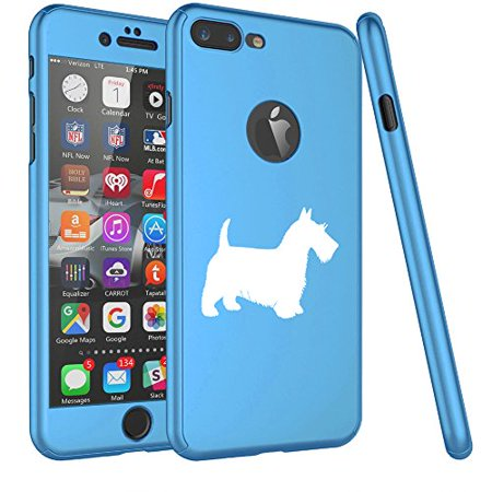 For Apple iPhone 360° Full Body Thin Slim Hard Case Cover + Tempered Glass Screen Protector Scottie Scottish Terrier (Light Blue For iPhone 8 (Hp Slim Ultrabook Thin And Light Backpack)