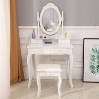 Zimtown Makeup Dressing Table Set w/Stool 4 Drawer & Mirror Wood Desk Modern Furniture
