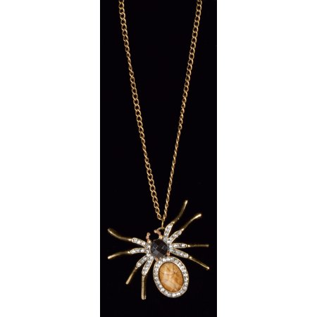 Star Power Halloween Gothic Shic Jewel Spider Necklace, Gold, One Size (Jewel Spider)