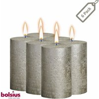 Bolsius Metallic Pillar Champagne Candles Unscented Rustic, Approx 54 Hours Clean Burning for Meditation Decor, Wedding, Restaurant, Church & Spa - Set of 6