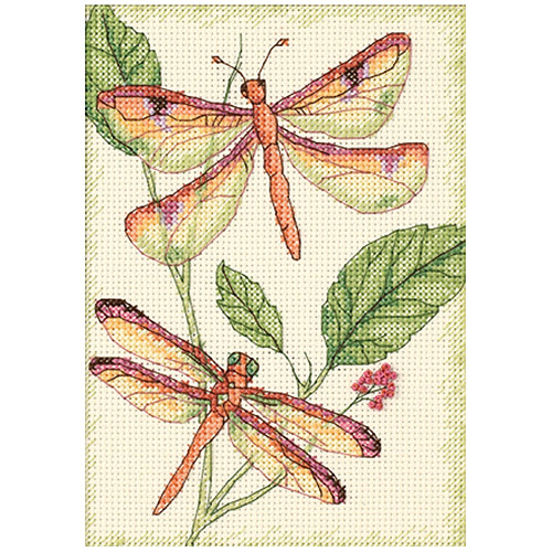 """Dimensions """"Dragonfly Duo"""" Mini Counted Cross Stitch Kit, 5"""" x 7"""""""