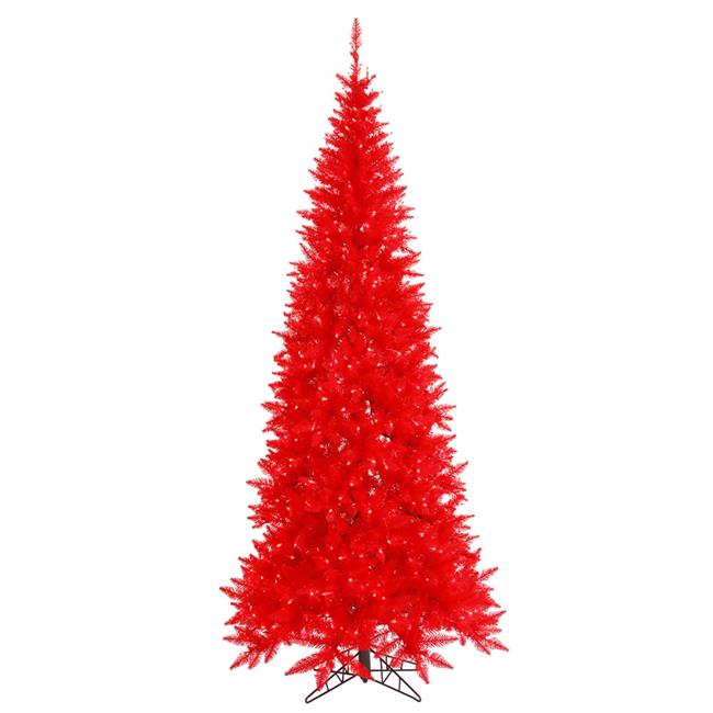 6.5 ft. x 34 in. Red Slim Fir Christmas Tree with 400 Red 948 Tips Dura LED Light