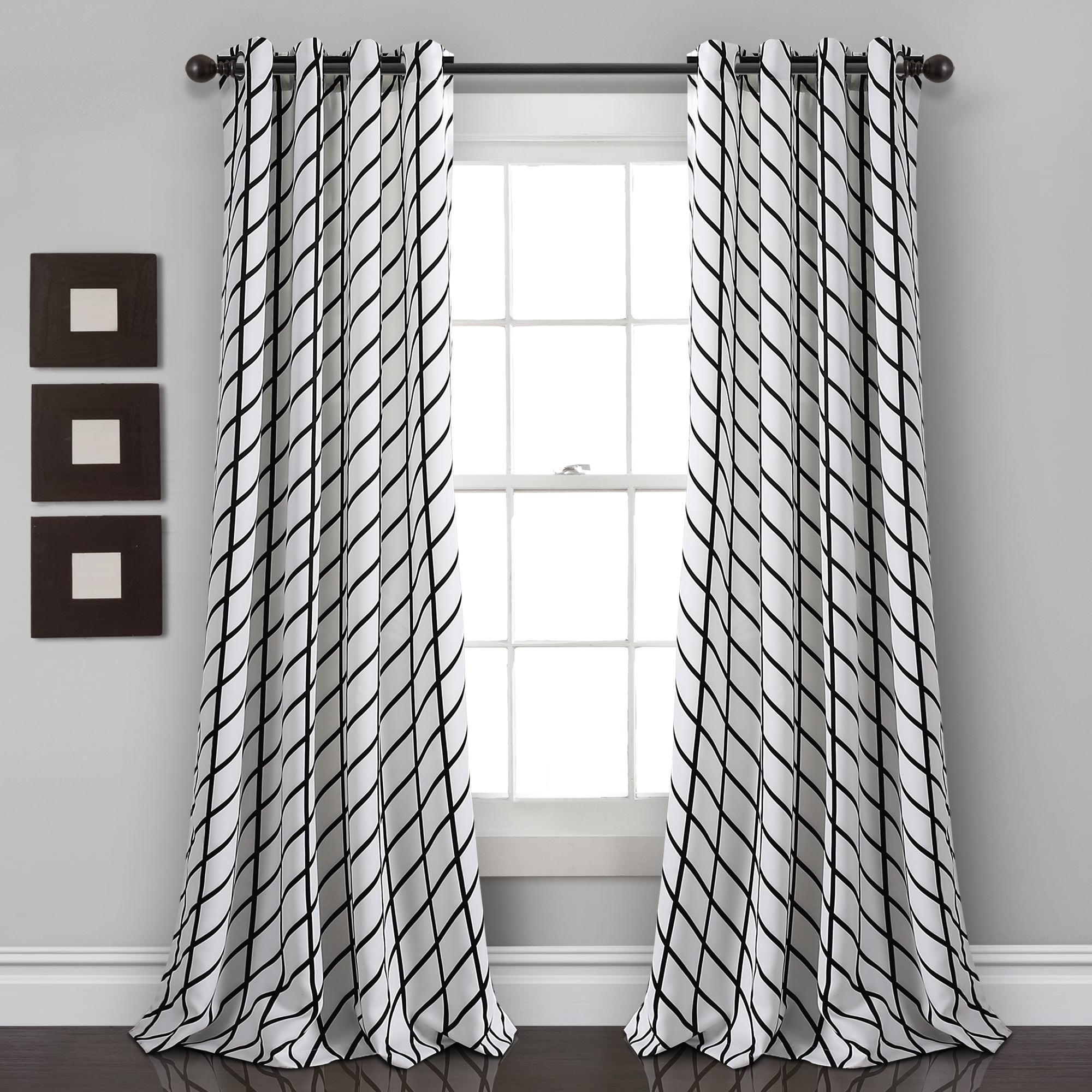 Feather Arrow Geo Room Darkening Window Curtain Panels White/Black Set 52X84