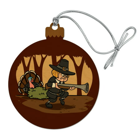 Pilgrim Turkey Thanksgiving Hunting Wood Christmas Tree Holiday Ornament ()
