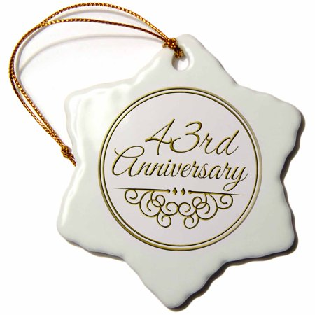 Rose 43rd Anniversary Gift Gold Text For Celebrating Wedding Anniversaries 43 Years Married Together