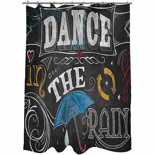 Thumbprintz Chalkboard Dance in the Rain Shower Curtain