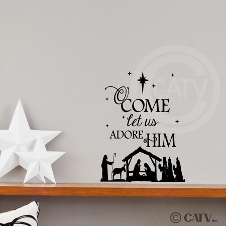 (Nativity) O Come Let Us Adore Him wall saying vinyl lettering decal home decor (Black, 12.5x15.5) - Nativity Stickers