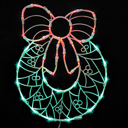 17 lighted led wreath with bow christmas window for Christmas window decorations clearance