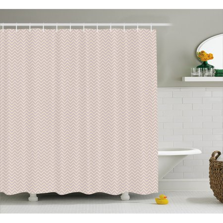 Retro Shower Curtain Horizontal Chevron Zig Zag Pattern Geometric Monochrome Nostalgic Design Fabric Bathroom Set With Hooks 69w X 75l Inches Long