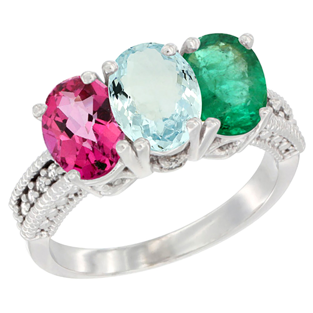 10K White Gold Natural Pink Topaz, Aquamarine & Emerald Ring 3-Stone Oval 7x5 mm Diamond Accent, sizes 5 10 by WorldJewels