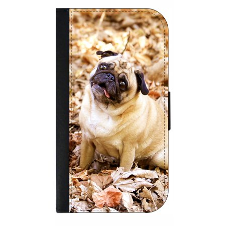info for de9c9 71c9d Funny Pug - Wallet Style Cell Phone Case with 2 Card Slots and a Flip Cover  Compatible with the Apple iPhone 7 Plus and 8 Plus Universal