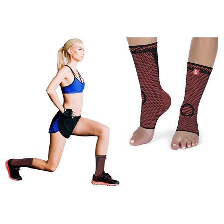 Ankle Brace Compression Support Sleeve (Pair) by RIMSports for Injury Recovery, Joint Pain, and more Achilles tendon support Foot Socks with Arch Support, Plantar Fasciitis, Eases Swelling, Heel