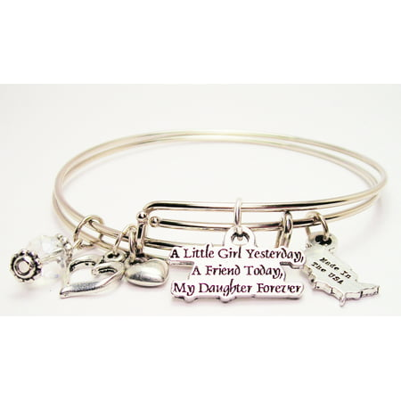 A Little Girl Yesterday A Friend Today My Daughter Forever Expandable Bangle Bracelet Set, Fits 7.5 wrist, Exclusive](Little Girls Bracelets)