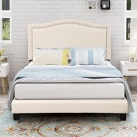Queen Size Platform Bed Frame, Upholstered Linen Bed Frame with Headboard, Elegant Detailed Nail Head Trimming, Mattress Foundation w/ Upholstered Side Panels and Footboard, Easy Assembly, Gray, S124