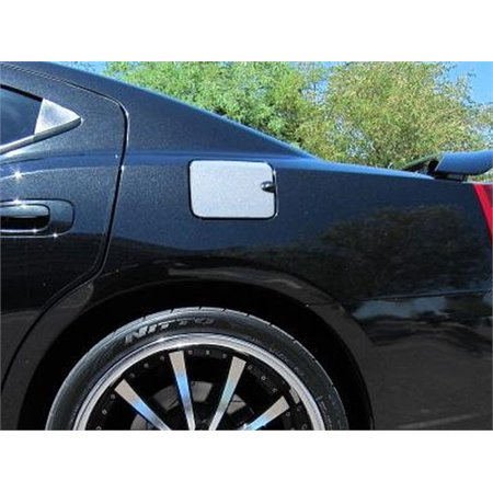 Fits 2008-2010  DODGE CHARGER 4-door (With notch for finger grip contour)-Stainless Steel GAS CAP DOOR ()