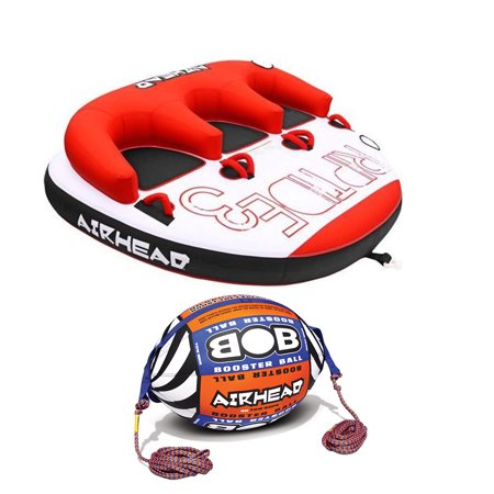 Riders Ball - Airhead Triple Rider Inflatable Tube & Tow Rope w/ Inflatable Buoy Booster Ball