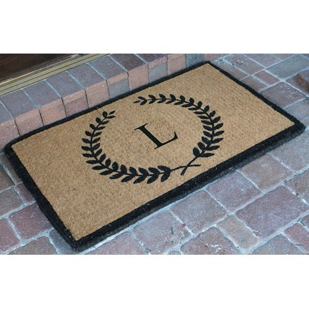 A1HC First Impression Divina Handwoven Extra Thick ,Large Size Leaf Doormat Monogrammed (24