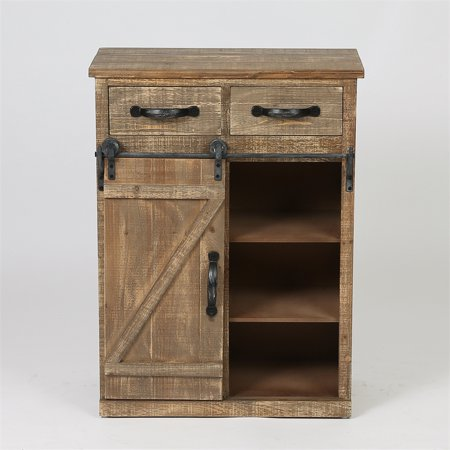 Striped Console Cabinet - Luxen Home Rustic Wood Sliding Barn Door Console Cabinet