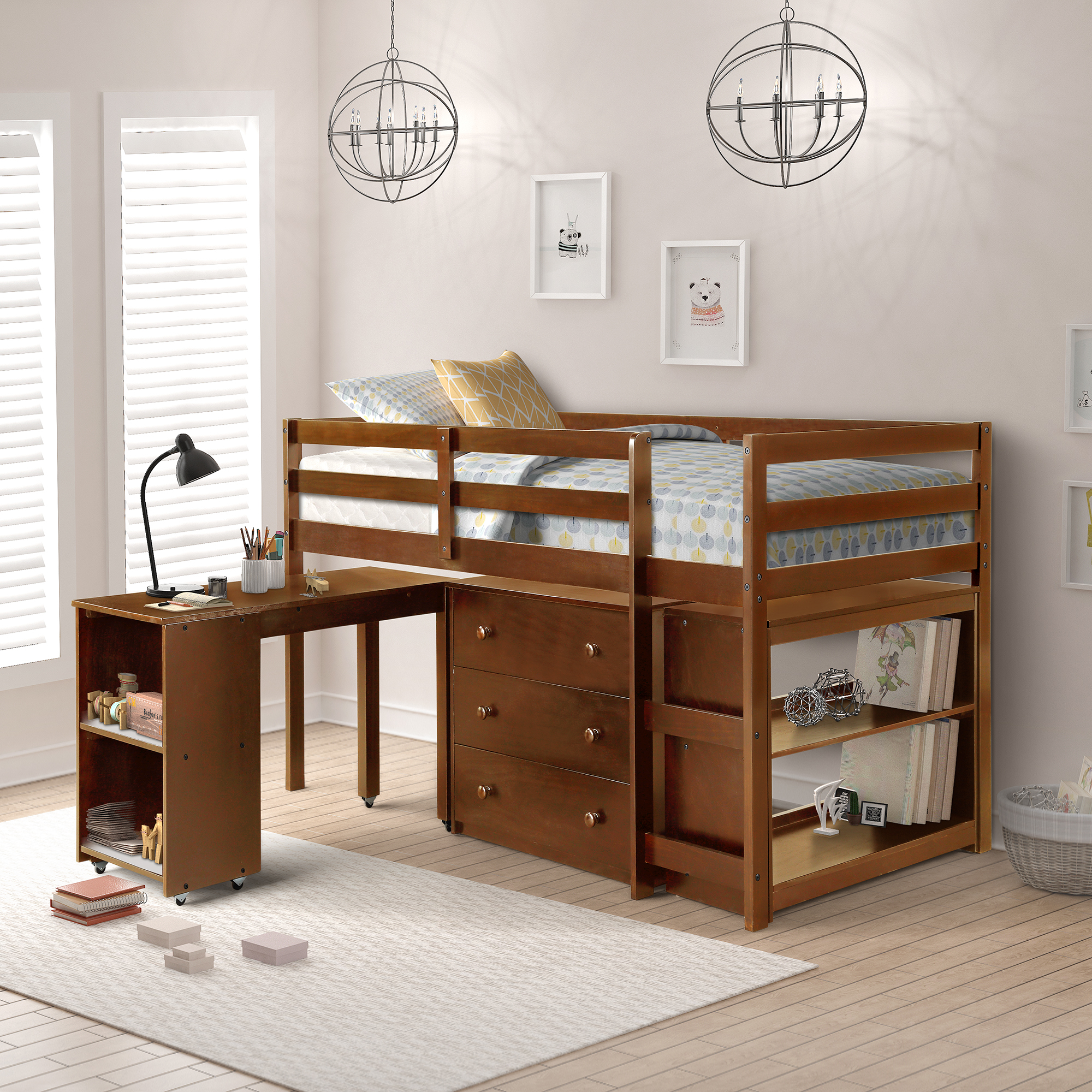 Harper Bright Designs 4 Piece Wood Twin Loft Bed With Desk Chest And Shelf Multiple Storage Espresso