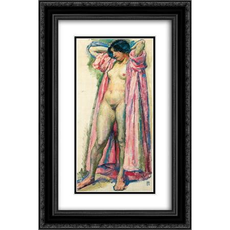 Theo van Rysselberghe 2x Matted 14x24 Black Ornate Framed Art Print 'Woman in Red Peignoir'