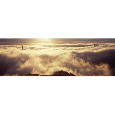 Panoramic Images Ppi125173l Suspension Bridge Covered With Fog Viewed From Hawk Hill  Golden Gate Bridge  San Francisco Bay  San Francisco  California  Usa Poster Print By Panoramic Images   36 X 12
