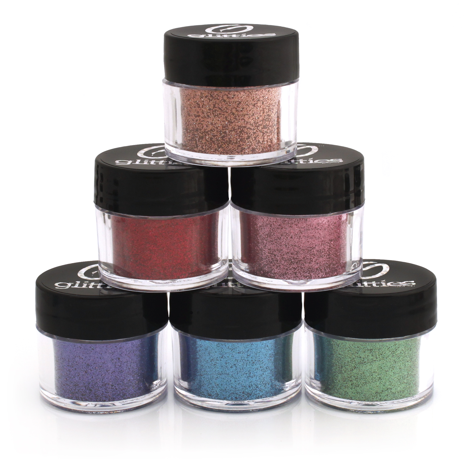 Cosmetic Grade 6 Pk Glitter Powder Kit - A Mix of Ultra Fine and Fine Glitter Powder Safe for Skin! Great forMakeup, Tattoos, Face, Lips, Soap, Lotion, & Nail Art - Made in the USA! (10 Gram Jars)
