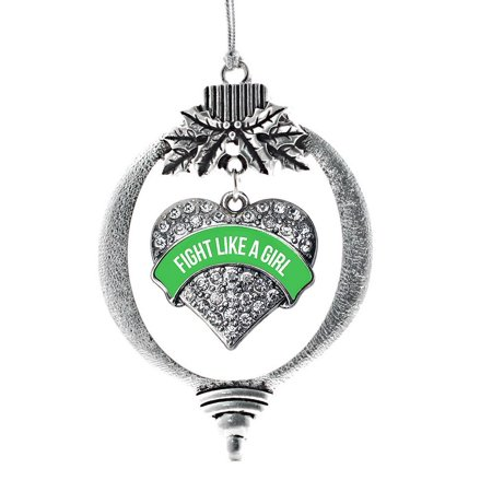Girls Emerald Green - Emerald Green Fight Like a Girl Pave Heart Holiday Ornament