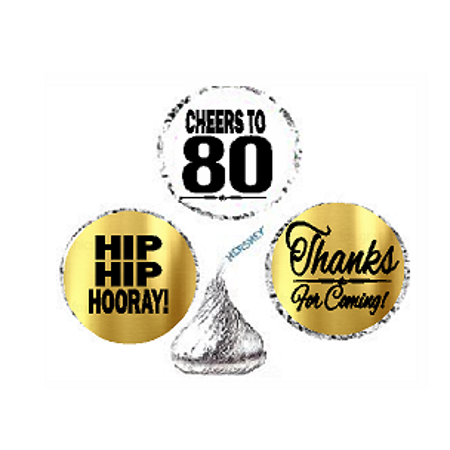 80th Birthday / Anniversary Cheers Hooray Thanks For Coming 324pk Stickers / Labels for Chocolate Drop Hersheys Kisses, Party Favors Decorations - Decorations For 80th Birthday