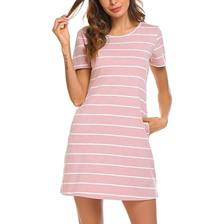23e234494ad9 FRESHLOOK - Women's Casual Striped Criss Cross Short Sleeve T Shirt Mini  Dress with Pockets - Walmart.com