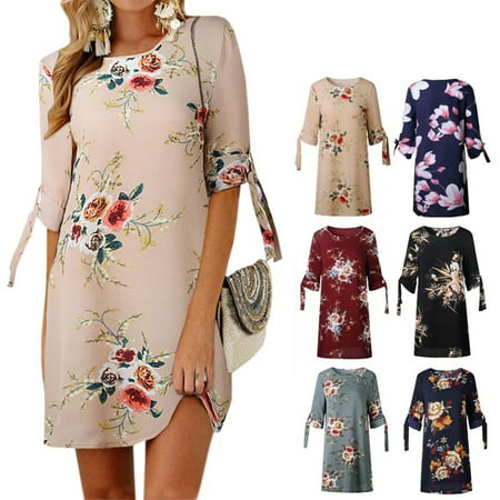 Women Summer Dress Boho Style Floral Print Chiffon Beach Dress Loose Sundress ()
