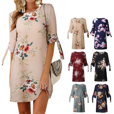 Women Summer Dress Boho Style Floral Print Chiffon Beach Dress Loose Sundress (Painted Dresses)