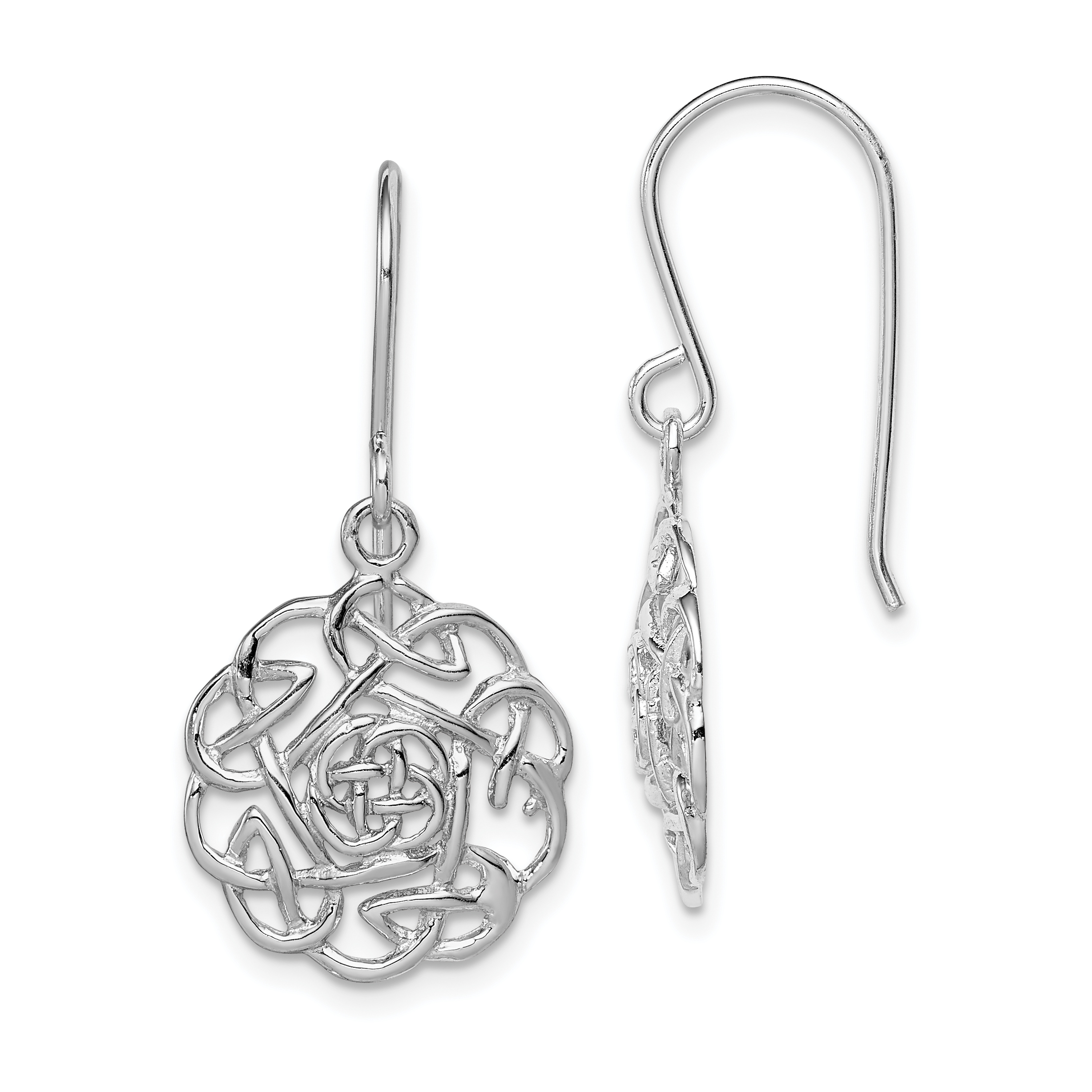 925 Sterling Silver Polished Open Claddagh Dangle Earrings