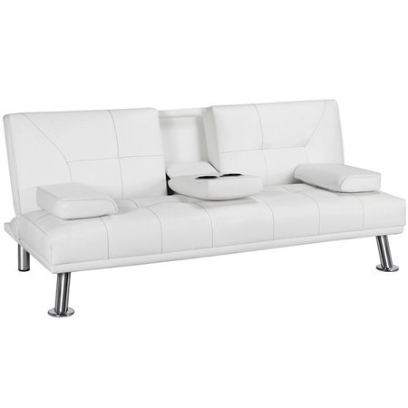 Topeakmart Modern Faux Leather Futon Sofa Bed with Armrest Home Recliner Couch Home Furniture White