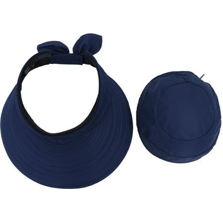 Women's UV Protection Wide Brim Summer 2in1 Visor Sun Hat Dark Blue
