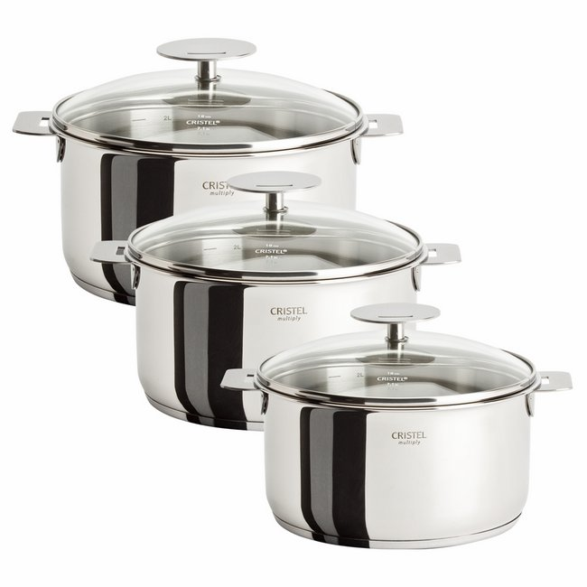 Cristel Casteline Removable Handle -Set of 3 Saucepans w/Lids