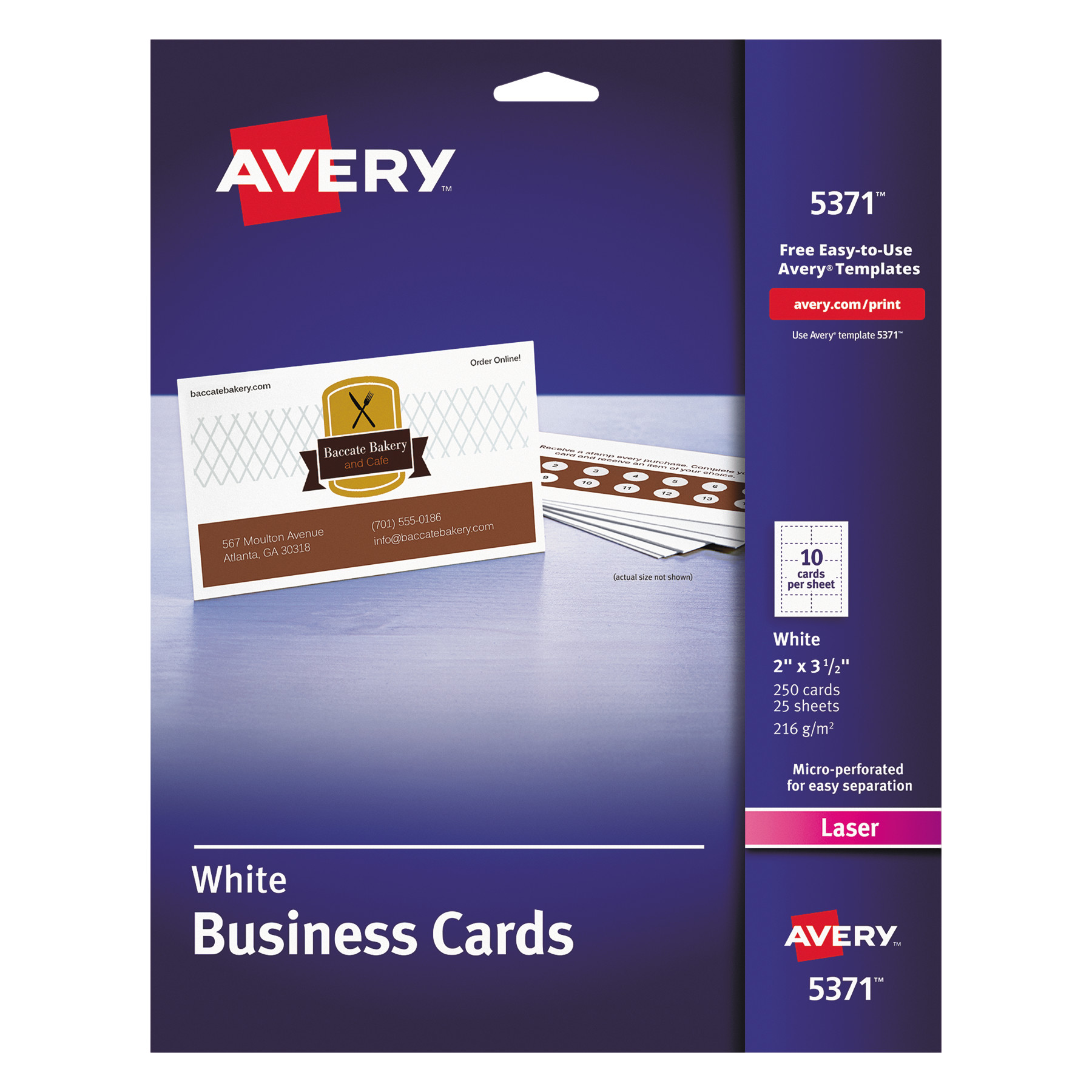 Avery Printable Microperf Business Cards Laser 2 X 3 12 White