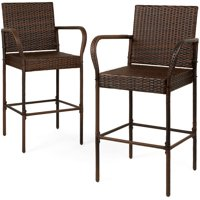 Best Choice Products Set of 2 Indoor Outdoor Wicker Barstool Patio Bar Stools - Brown